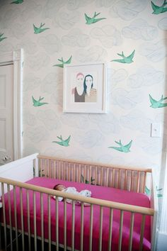 Swallow Bird WallPaper and Robin Crib from PoshTots    http://www.poshtots.com/interior-design-guide/nursery-necessities/all-baby-cribs/robin-crib-in-white-and-natural-birch/3378/3381/1313/26112/poshproductdetail.aspx