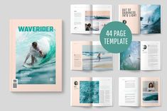 Ad: WAVERIDER MAGAZINE by Mashmish_Studio on A modern, minimal, magazine, folio or brochure InDesign template. This layout has been designed as a Surfing magazine, but could easily be Flat Ui, Grid Graphic Design, Wordpress Theme, Magazine Layout Design, Magazine Layouts, Design Layouts, Brochure Design, Indesign Templates, Indesign Free