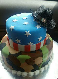 Fondant camouflage American flag cake Military cake Fondant cake
