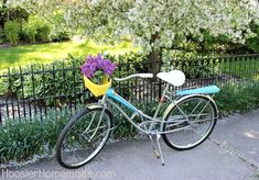 DIY Bike Makeover - step-by-step starting w/ taking the bike apart completely & laying out all the pieces on a tarp (take cell phone photos before removing to put them back correctly)  :: HoosierHomemade.com