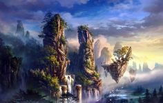 nature landscapes fantasy art paintings trees forest jungle magic waterfall rivers animals birds scenic islands surreal sky clouds sunrise sunset fog mist vapor haze mountains architecture column tower mythical mystical soft dream colors cg digital wallpaper background