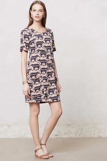 Anthro - shift dress with bear motif (own)