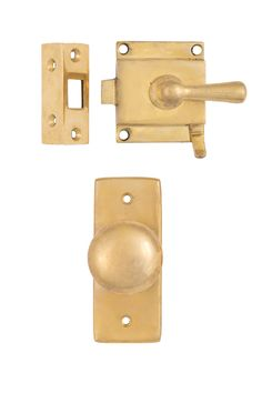 Brass Screen Door Set #2203.US3A By Charleston Hardware.