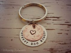 FOREVER AND ALWAYS hand stamped key chain - silver and copper- heart - - Whispering Metalworks