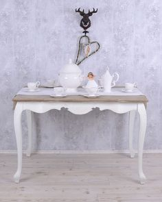 Dining Table Shabby Chic Table White Kitchen Table Nostalgia Wooden Table