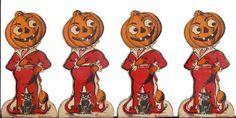4 Halloween Stand Up Vintage Jack O'Lantern Pumpkin Black Cat Place Cards | eBay