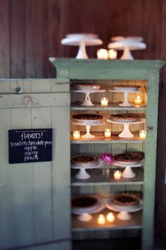 Cathy, how funny - I already pinned this one :) Pie Display with LED tealights - love the glow of the 'candles'