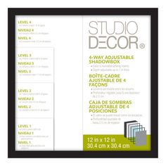 "Studio DéŽcor® 4-Way Adjustable Shadowbox, Black 12"" x 12"""