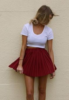 red skirt and cropped top