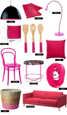 hot pink accents.