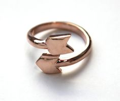 Flecha envolver anillo rosa 14K oro sumergido