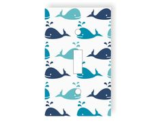 Whale Light Switch Cover - Choose Your Color- Whales Nursery Decor, Ocean Bedroom, Sea Decor, Baby Room, Nautical Playroom, Marine Animals by twowhiteowls on Etsy
