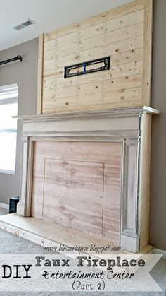 DIY faux fireplace with plank wall chimneypiece - Blesser House featured on Remo. : DIY faux fireplace with plank wall chimneypiece – Blesser House featured on Remodelaholic. Could add my floor to ceiling bookcases on either side. Faux Fireplace Mantels, Mantles, Fireplace Ideas, Fireplace Outdoor, Limestone Fireplace, Open Fireplace, Fireplace Design, Diy Mantel, Cottage Fireplace