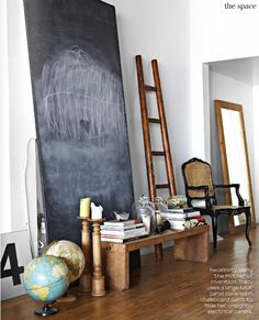 I've wanted a giant chalkboard to rest against my dining room wall ever since I saw a picture similar to this one years ago. I made a 4 ft one, but want a serious one like this when we are one day settled.