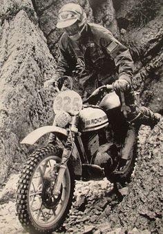 Rokon Italy ISDT Jim Hollander Photo: Only 2 Rokon factory riders qualified for the US Team to go to Camerino, Italy in Jim Hollander a. Enduro Motocross, Enduro Motorcycle, Motocross Racing, Enduro Vintage, Vintage Motocross, Vintage Bikes, Old Motorcycles, Trail Riding, Dirt Bikes
