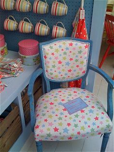 Cath Kidson chair, and cute cups