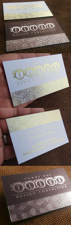 Stylish Textured Gold And Silver Hot Foil Stamped Business Card Design