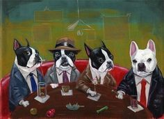 11 x 14  Print  Three Boston Terriers and a French by rubenacker, $28.00