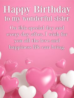 Wonderful Sister Happy Birthday birthday happy birthday birthday quotes and sayings birthday images birthday sister quotes - Birthday Month Birthday Greetings For Sister, Happy Birthday Wishes For A Friend, Birthday Wishes For Sister, Birthday Wishes Quotes, Birthday Messages, Birthday Cards, Happy Birthdays, Birthday Calendar, Sister Birthday Message