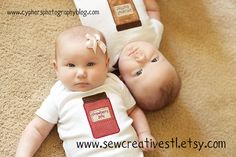 peanut butter and jelly twin onesie set. $30.00, via Etsy.