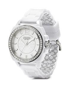 COACH Boyfriend Round White Watch, 39.2mm | Bloomingdale's