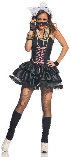 Transform into a retro fashion diva in our women's Awesome 80s Adult Costume. Go Madonna at your next totally awesome 80s party for a trendy and chic look worthy of a pop star. Our sexy Awesome 80s Costume includes a sleeveless mini black dress featuring a pink lace-up front and double layered satin ruffled skirt with attached petticoat, black leg warmers and white lace hair tie. Try creating a Madonna look from her Like a Virgin era or just go for that 80s Diva look in our sexy Awesome 80s ...
