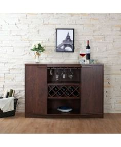 Wine BAR Buffet and Storage Cabinet with Center Glass and Wine Rack, Side Shelves, and Open Focal Point Shelf (Walnut) Furniture of America Wine Bar, Furniture Of America, Wine Storage, Furniture, Bar Furniture, Bars For Home, Bar Storage, Dining Storage, Wine Cabinets