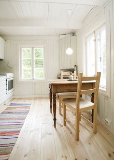 Simple white and pale wood kitchen, looks great as it is without any extra decoration