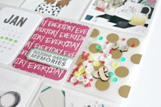 PROJECT LIFE 2014 // JAN 6 - 12 (WK2) by bckueser - love the confetti card with vellum and wood veneers.