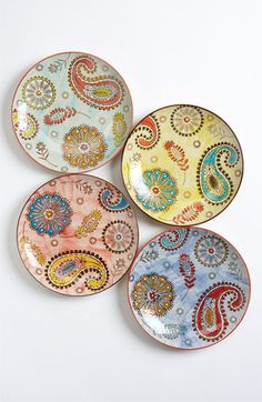 Couleur Nature Assorted Paisley Dessert Plates (Set of 4) available at #Nordstrom
