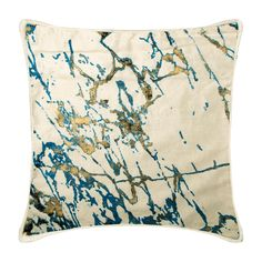 """Velvet Ivory Toss Pillows 16""""x16"""" Decorative Throw Pillow Case Painted Gold Foil Throw Pillow Cover, Abstract Couch Pillows - Paint Splash"""
