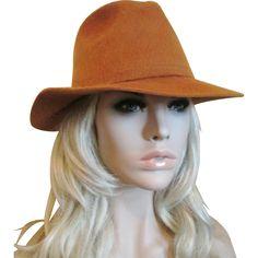 Fedora Hat Vintage 1970s Burnt Orange Wool Felt DeLuxe M