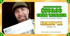 ★ CONGRATULATIONS LEROY W. ★ A standing ovation for Lucktastic's first EVER $500.00 Cash Winner!!  Don't miss out on your chance to be our next $500 Winner - play our $500 Holiday Bonus card every day this month. You never know, YOU might be next!
