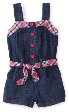 Carters Baby-Girls Infant Plaid Accents Denim Romper, Medium Wash, 12 Months