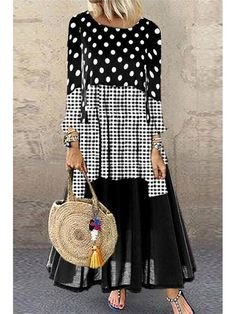 Polka Dot Round Neckline Casual Maxi A-line Dress Long Sleeve Plus Dress Long Sleeve Shirt Dress, Maxi Dress With Sleeves, Dress Long, Plus Size Maxi Dresses, Casual Dresses, Beautiful Dress Designs, Boho Fashion, Fashion Outfits, Maxi Robes
