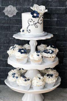 Navy, White, Silver Cake & Cupcakes
