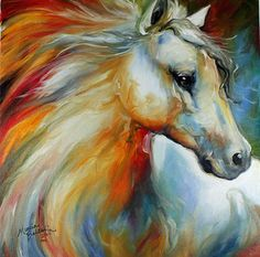 Love the colour in this.  Horse Art Gallery: HORSE ANGEL NO 1 an original oil painting by Equine Artist Marcia Baldwin