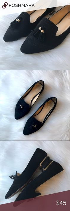 Vince Camuto Rizell black suede pointed flats Vince Camuto Rizell black suede pointed toe flats with tassel and wing tip detail. Gold hardware on tassel and heels. Size 8. Leather upper with man made sole. In very good, lightly used condition. Vince Camuto Shoes Flats & Loafers