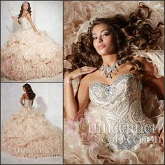 2015 Champagne Sweetheart Neck Crystal Beads Ruffle Handmade Quinceanera Dresses | Buy Wholesale On Line Direct from China