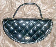 Vintage Koret Black Quilted Patent Leather Evening Handbag with or without Strap #KORET #EveningBag