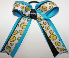 Softball Turquoise Blue Ponytail Bow Softball Hair Bows, Softball Shirts, Softball Cheers, Glitter Hair, Blue Glitter, Cheap Bows, Softball Crafts, Blue Bow, Navy Blue