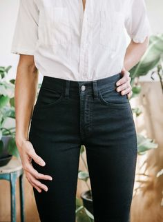 Black jeans White button down