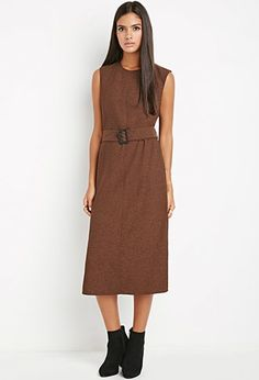 Buy it now. LOVE21 Women's  Rust & Black Contemporary Belted Shift Dress. STYLE Forever 21 Contemporary - A sleeveless shift dress in a midi length with side slits and a removable belt.Round neckline, concealed back zipperUnlined, woven100% polyesterHand wash coldMade in VietnamSIZE Measured from Small46.5%22 full length, 37%22 chest, 37%22 waist , vestidoinformal, camisole, túnica, shift, pleat, pleated, drape, t-shape, daisy, foldedshoulder, summer, loosefit, tunictop, swing, day…