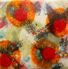 Jazzy Hand Painted Porcelain Tile  4.25x by SilkScarvesJoanReese, $25.00