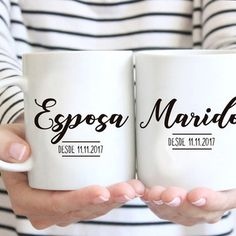 Painted Mugs, Hand Painted Ceramics, Surprises For Husband, Data, Coffee Cafe, Sharpie, Marriage, Wedding Inspiration, Lettering