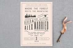 """Mountain Affair"" - Rustic Wedding Invitations in Cream by Hannah Williams."