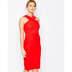 Oasis Cross Front Body-Conscious Dress (5.080 RUB) ❤ liked on Polyvore featuring dresses, red, body con dress, red bandage dress, red bodycon dress, red dress and slimming dresses