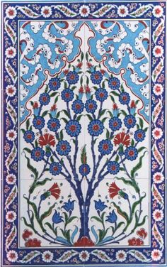 Find Here traditional ceramic Turkish floral art tiles, splendid designs, perfect backsplash for any wall. Tile Murals, Tile Art, Mosaic Art, Turkish Art, Turkish Tiles, Trees Of Eternity, Flower Of Life Pattern, Panel Art, Textile Patterns