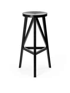 JL4 Faber Bar Stool by Loehr, 780mm seat height, jet black stained oak