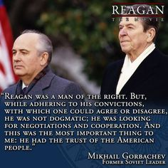 Gorbachev on President Ronald Reagan. The trust of the American people is something Obama never had, other than his paid for minions and brain dead snowflakes.